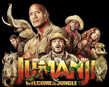 full cast photo with Movie title Jumanji Welcome to the Jungle against a black backdrop