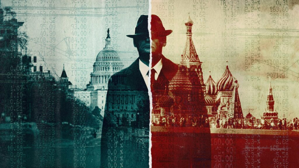 distressed photo of a man standing in front of the Kremlin and The US Capitol Building