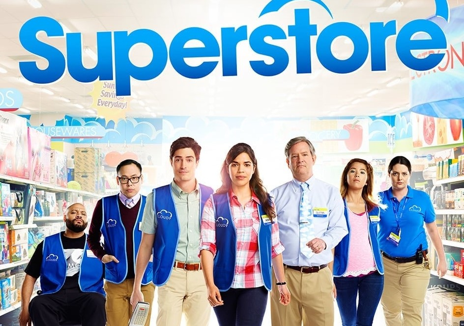 Title: Superstore with picture of store employees standing together