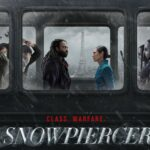 "Title"" Snowpiercer under a man and a woman sitting on a train, facing each other"