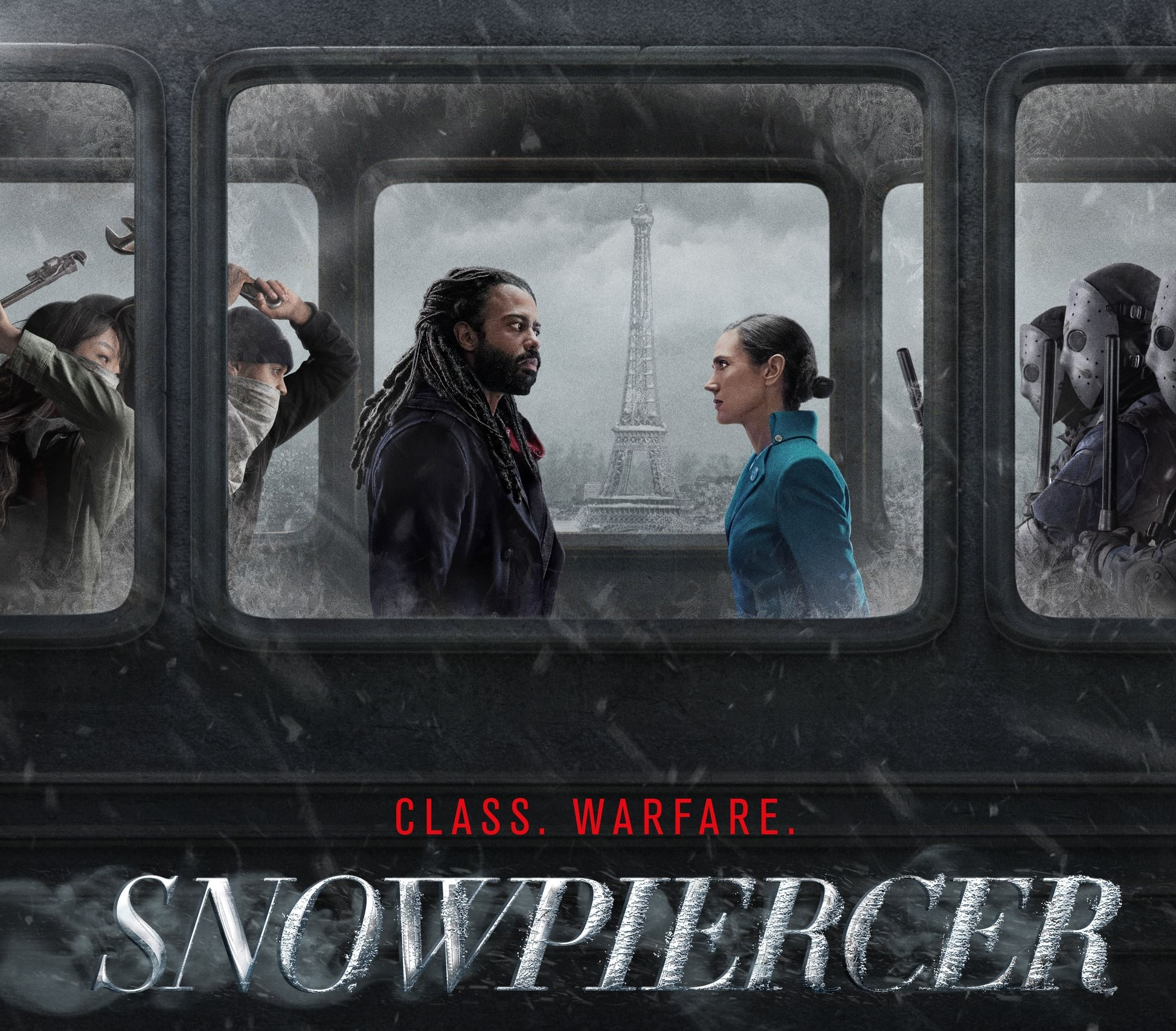 """Title"""" Snowpiercer under a man and a woman sitting on a train, facing each other"""