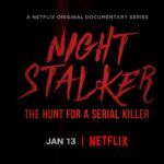 Title: Nicht Stalker The Hunt for a serial killer written in red on a black background