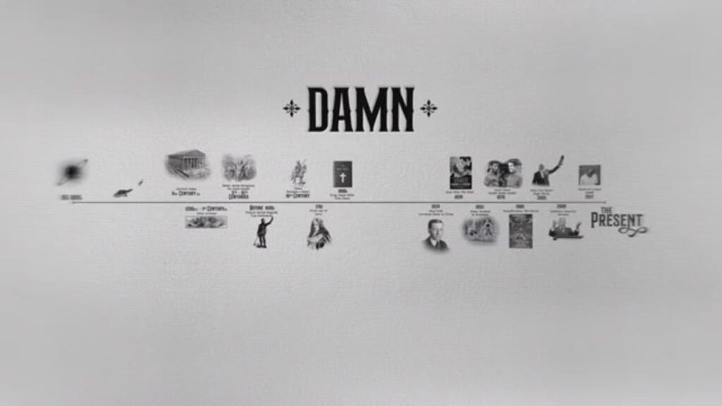 Timeline diagram of the history of the word 'damn'