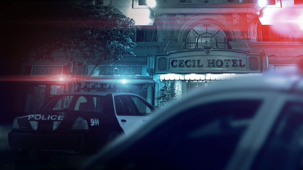 police cars parked outside of a building with a sign that says, Cecil Hotel