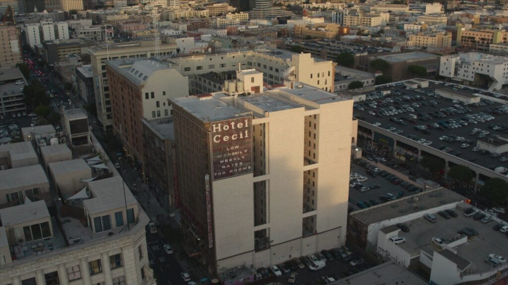 An aerial picture of the Cecil Hotel