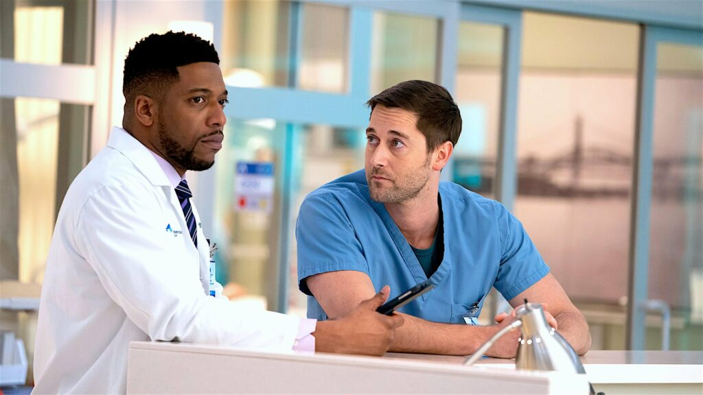 Two doctors standing at a desk