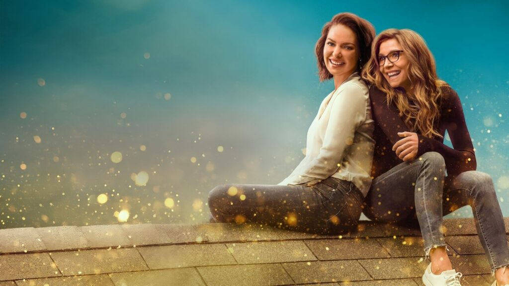Two women sitting on a roof