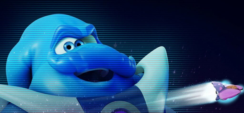 A large blue animated alien
