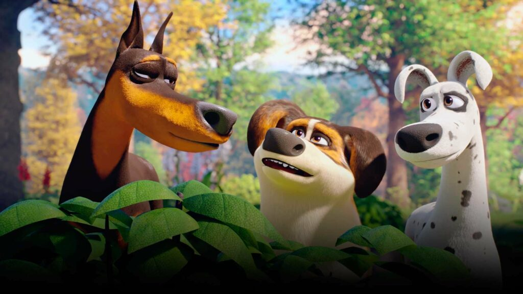 Three animated dogs standing together in some shrubbery