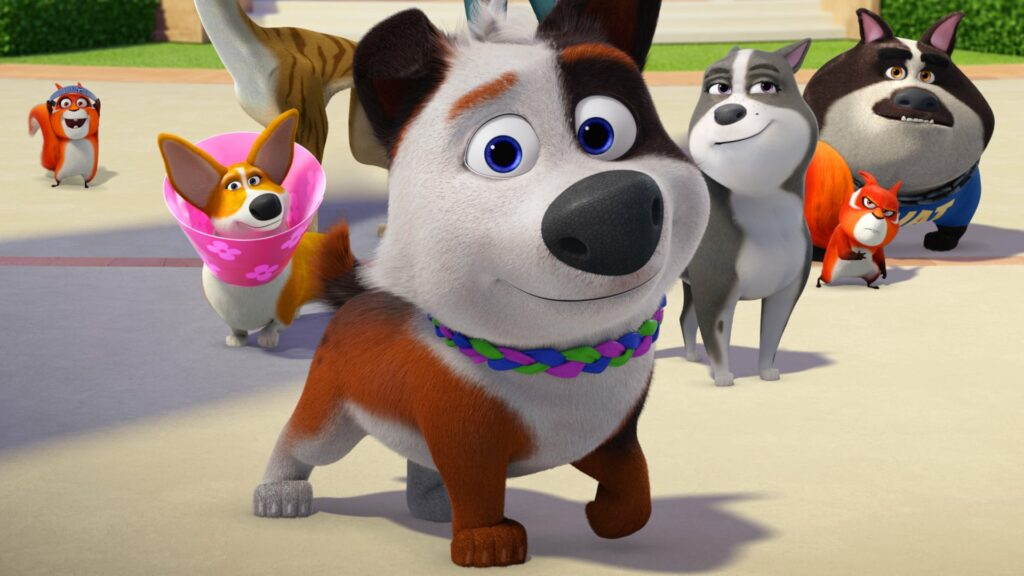 An animated dog standing on a street with several dogs and a couple of squirrels