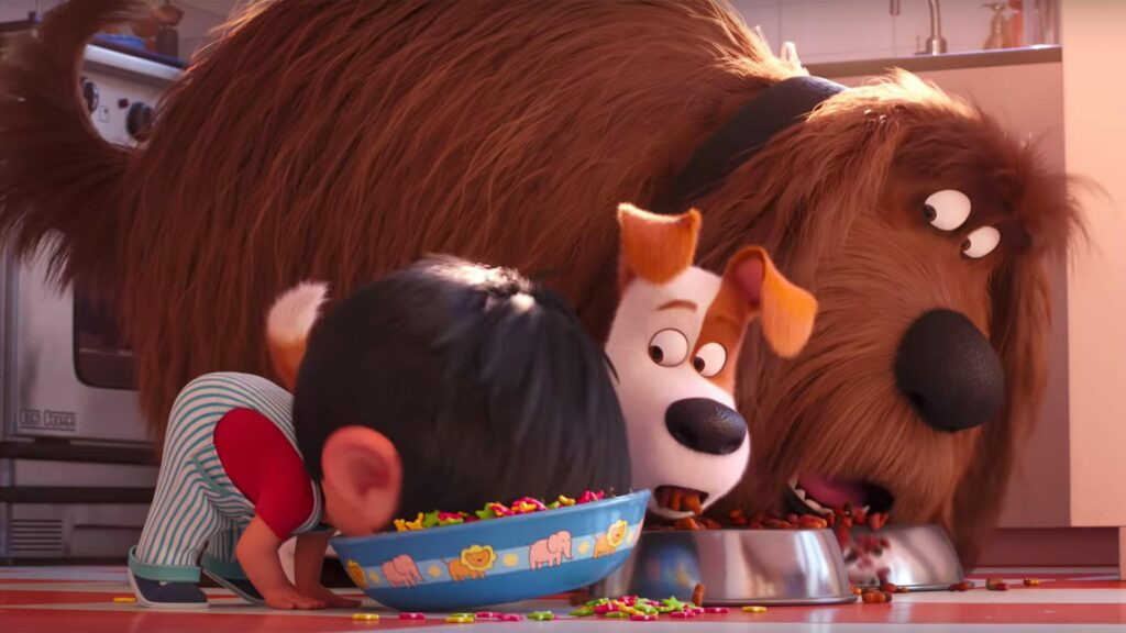 An animated picture od a toddler eating out of a bowl on the floor beside his two dogs
