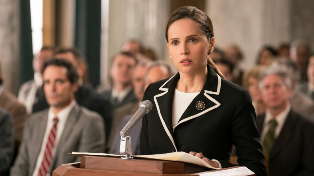 A young female lawyer standing at a podium