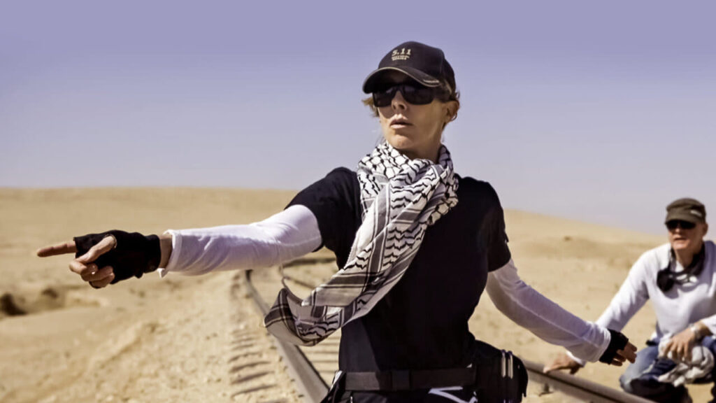 A woman, Kathryn Bigelow, directing a film in the desert