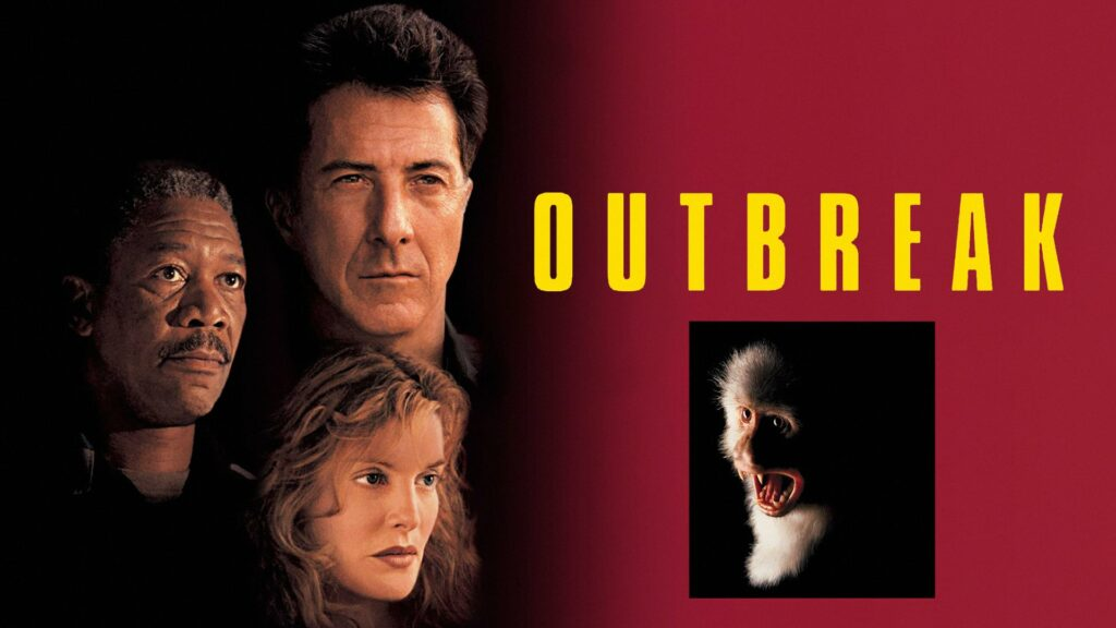 Movie poster with a screaming monkey and three actors - Morgan freeman, Renee Russo and Dustin Hoffman