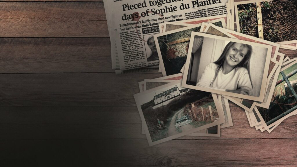 an old newspaper and a series of snapshots of Sophie and her home on an old wooden table