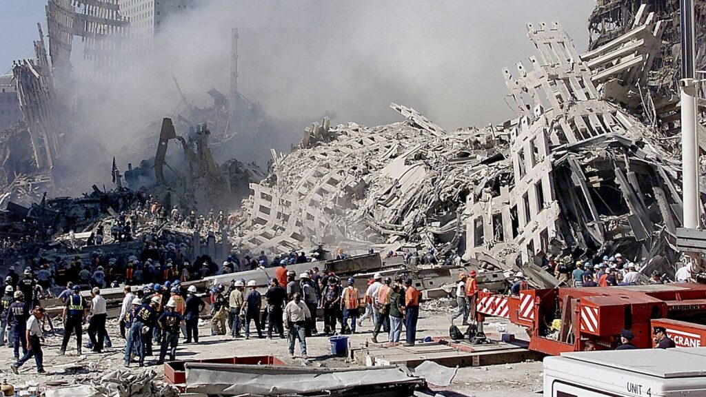 The wreckage of the toppled World Trade Center building